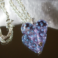 Pale mauve glass heart necklace with pale blue dots