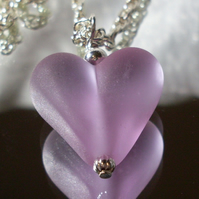 Mauve glass heart necklace