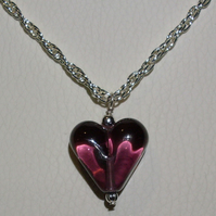 Amethyst glass heart necklace