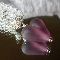 Dark amethyst glass heart necklace