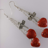 Coral red heart and dragonfly earrings