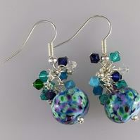 Blue, green and turquoise Swarovski crystal earrings