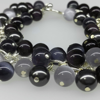 Black and grey cat's eye beaded bracelet