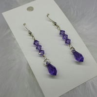 Tanzanite crystal dangle earrings.