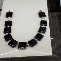 Blue goldstone semi-precious gemstone necklace