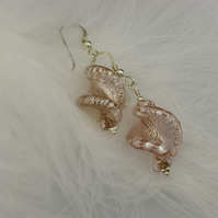 Pale pink Murano glass earrings