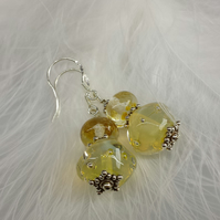 Handmade glass beads on Sterling silver earwires