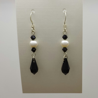 Pearl and black crystal earrings