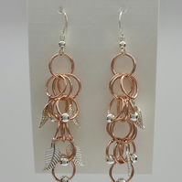 Copper and silver earrings 60mm