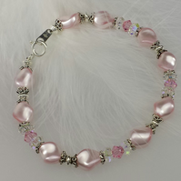 Pink Swarovski crystal bracelet with Sterling silver beads