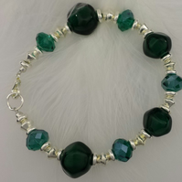 Dark green, Teal and Silver bracelet