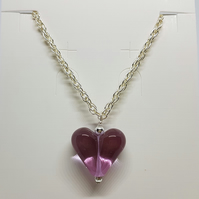Glass heart necklace with pale amethyst glass bead