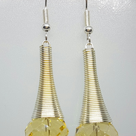 Spiral earrings with citrine crystals