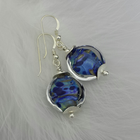 Blue handmade lampwork bead earrings