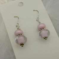 Candy pink lampwork bead earrings with Sterling silver earwires