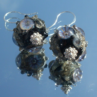 Black 'Rockpool' beads earrings
