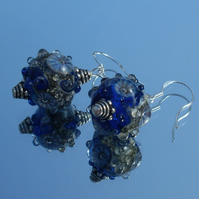 Blue 'Rockpool' beads earrings