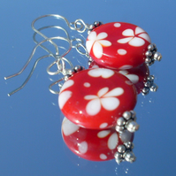 Red and white flower earrings with Sterling silver earwires