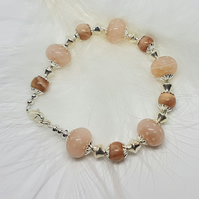 Peach coloured glass and Jasper beaded bracelet