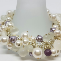 Mauve and white wire-wrapped beaded bracelet