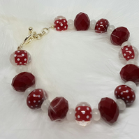 Snow Quartz and polka dot bead bracelet