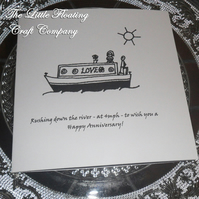 Narrowboat Anniversary Card