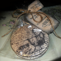 Handmade birchwood vintage tea style pair of coasters