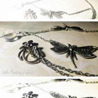 Vintage style silver dragonfly & faceted crystal necklace