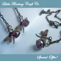 SALE Lilac crystal & brass dragonfly jewellery set