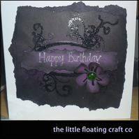 Dark Distressed Purple Birthday Card
