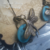 Dragonfly shell & brass earings