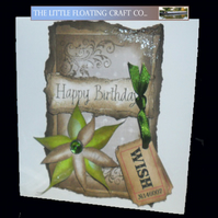 Vintage floral distressed brown & olive green birthday card