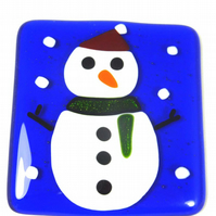 Christmas Festive Fused Glass Coasters with Snowman - set of 2