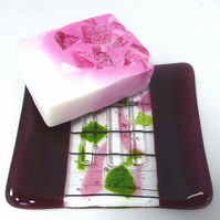 Fused Glass soap dish in fuchsia pink and iridescent spring green with soap