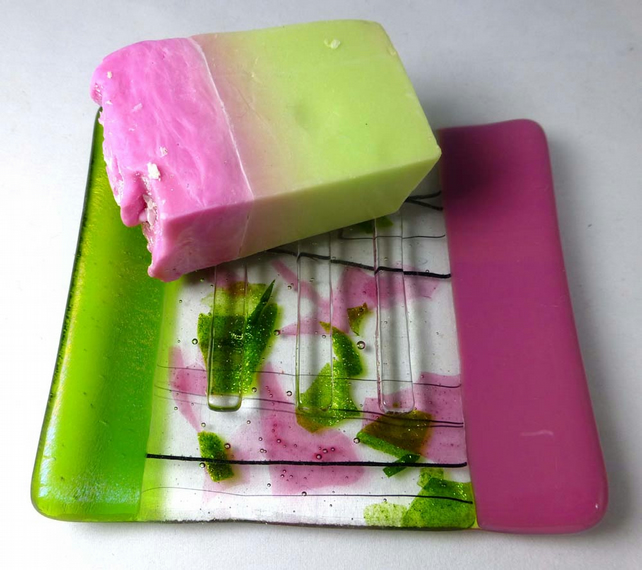 Fused Glass Soap Dish In Rose Pink And Iridesce Folksy