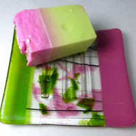 Fused Glass soap dish in rose pink and iridescent spring green colours with soap
