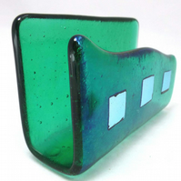 Classy Glassy Fused Glass Business Card Holder in Emerald Green MTO