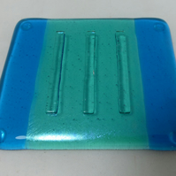 Fused Glass Soap Dish in Iridescent Aquamarine and Turquoise
