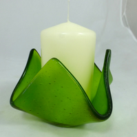 Fused Glass Candle Holder in Iridescent Spring Green with candle