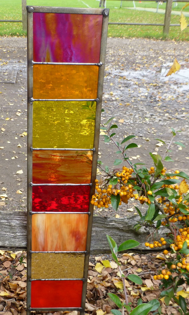 Stained Glass Garden Ornament Architectural Pan Folksy