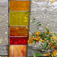 Stained Glass Garden Ornament Architectural Panel Medium in Sunshine Colours MTO