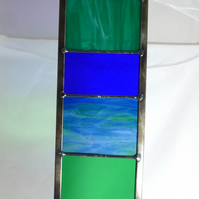 Garden Ornament Stained Glass Panel Large in Aquamarines, Teals and Ocean Blues