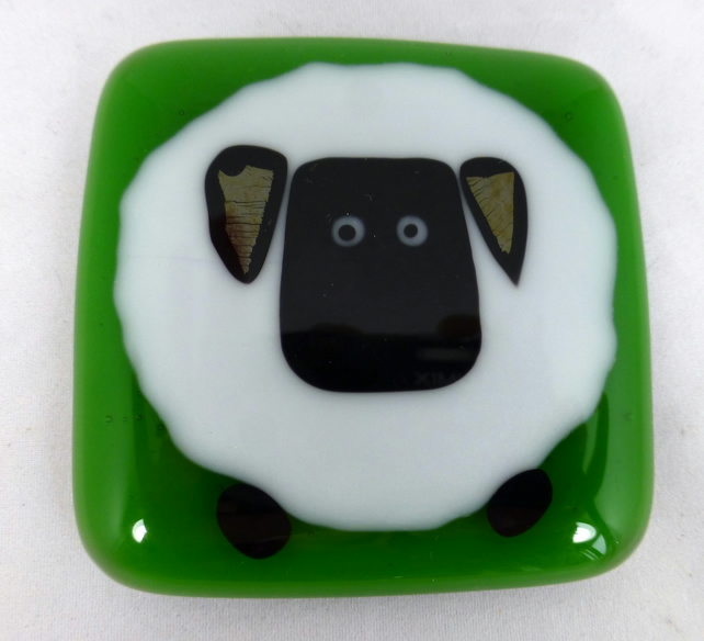 Fused Glass Magnet with Big Fat Sheep