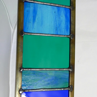 Garden Ornament Stained Glass Panel Small in Aquamarines, Teals and Ocean Blues