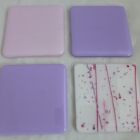 Pastel Pink and Lilac Fused Glass Coaster Combo - set of 4