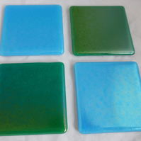 Iridescent Ocean Turquoise and Sea Green Fused Glass Coasters - set of 4
