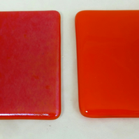 Tangerine Orange Iridescent and Opal Fused Glass Coasters  - set of two MTO