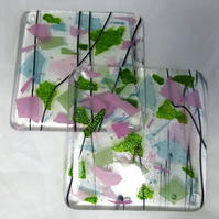 Glass Coasters with Rose Pink, Cobalt Blue and Sparkling Green - set of two
