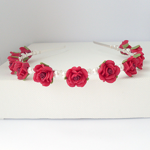 Bridal Headband Tiara with Glass Pearls and Red Roses