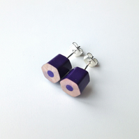 Puprle Pencil Stud Earrings Artist Teacher Gift